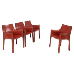 Cassina by Mario Bellini Cab 413 Red Leather Chairs, Set of 4