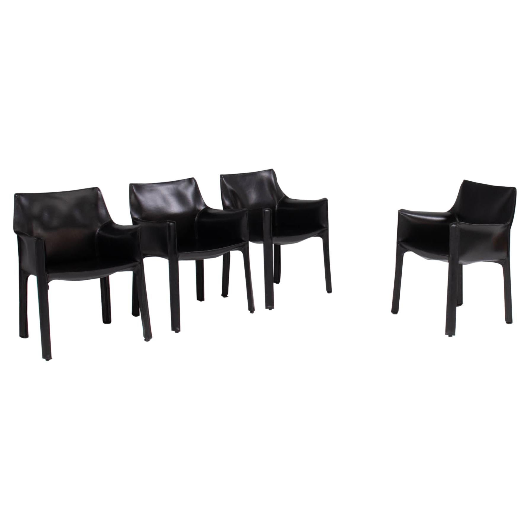 Cassina by Mario Bellini 'Cab' Black Leather Carver Dining Chairs, Set of Four