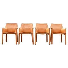 Cassina Cab 413 Vegetal Natural Cognac Leather Dining Chair Armchair Set of 4