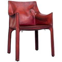 Cassina Cab 413 Vintage Leather Armchair Red by Mario Belinni 1970-1979