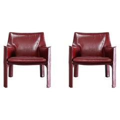 Cassina Cab 414 Leather Lounge Chair Armchair Bordeaux Set of 2