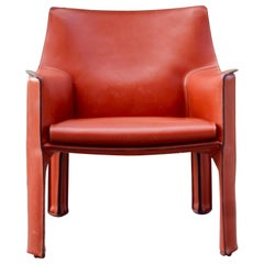 Cassina Cab 414 Leather Lounge Chair Armchair China Red / Ox Red