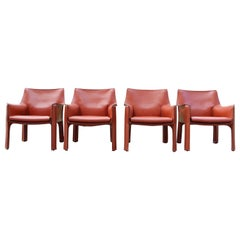 Cassina Cab 414 Leather Lounge Chair Armchair China Red / Ox Red Set of 4