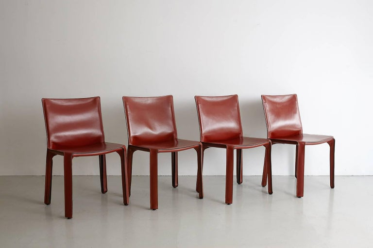 Cassina Cab Side Chairs in Red Leather For Sale 4