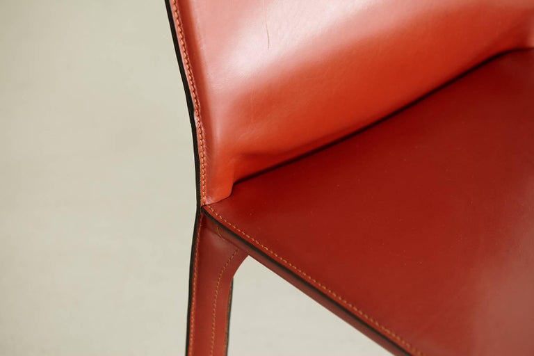 Modern Cassina Cab Side Chairs in Red Leather For Sale