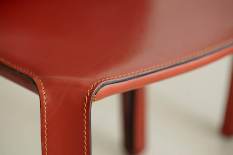 Italian Cassina Cab Side Chairs in Red Leather For Sale