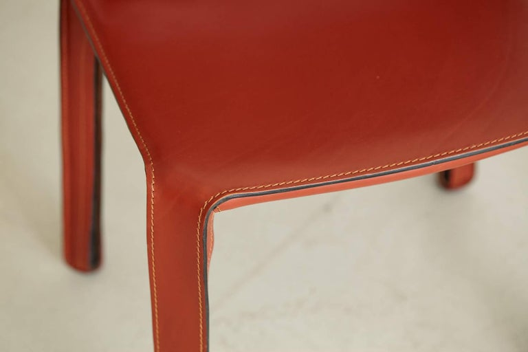 Cassina Cab Side Chairs in Red Leather In Good Condition For Sale In Los Angeles, CA