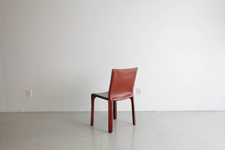 Late 20th Century Cassina Cab Side Chairs in Red Leather For Sale