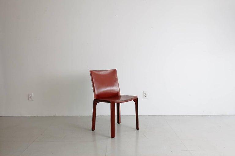 Cassina Cab Side Chairs in Red Leather For Sale 1