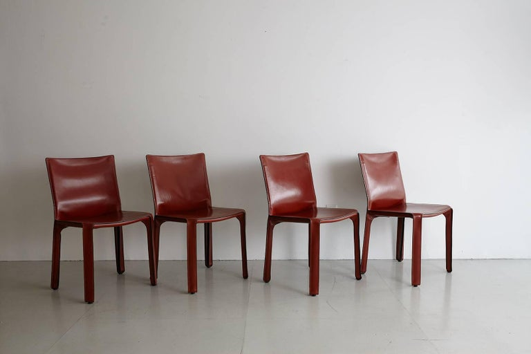 Cassina Cab Side Chairs in Red Leather For Sale 3