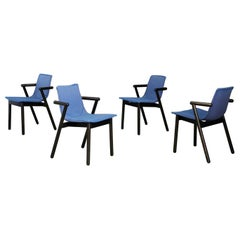 Cassina Chairs Blue Set of Four in Black Lacquered Wood Postmodern, 1980s