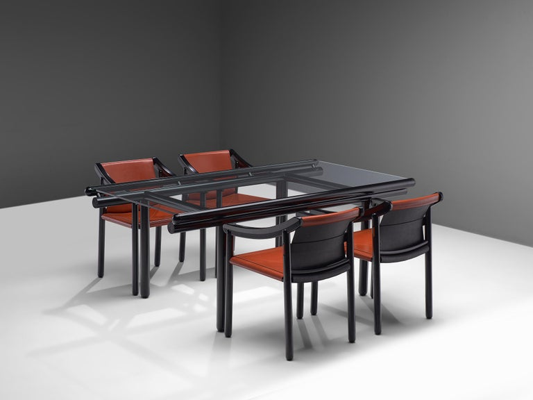 Cassina Dining Table 'Capri' in Metal and Glass For Sale 4