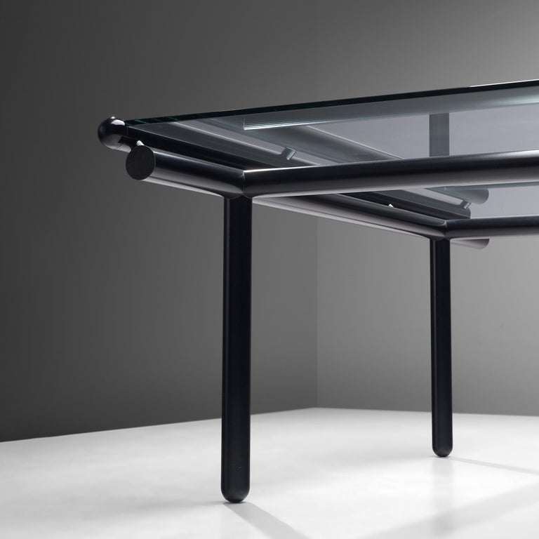 Mid-Century Modern Cassina Dining Table 'Capri' in Metal and Glass For Sale
