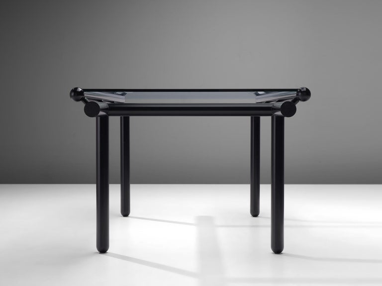 Italian Cassina Dining Table 'Capri' in Metal and Glass For Sale