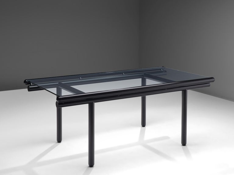 Late 20th Century Cassina Dining Table 'Capri' in Metal and Glass For Sale