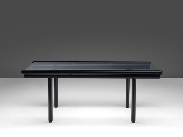 Cassina Dining Table 'Capri' in Metal and Glass For Sale 2