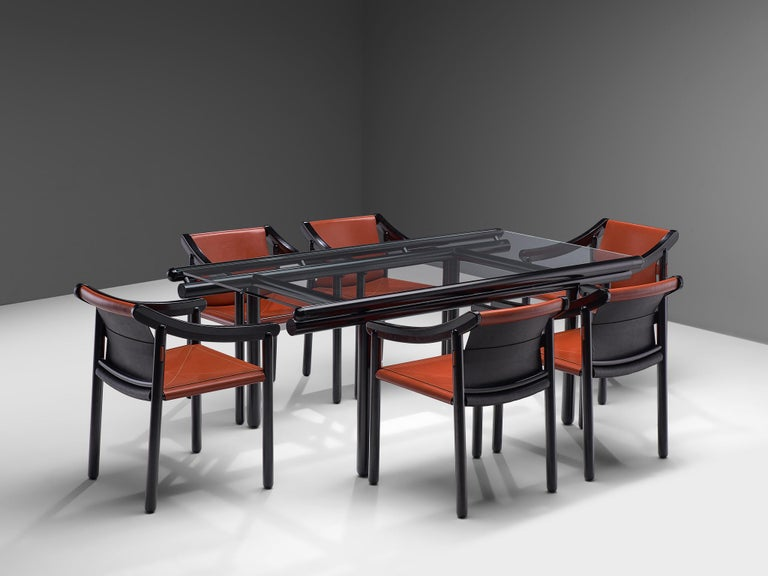Cassina Dining Table 'Capri' in Metal and Glass For Sale 3