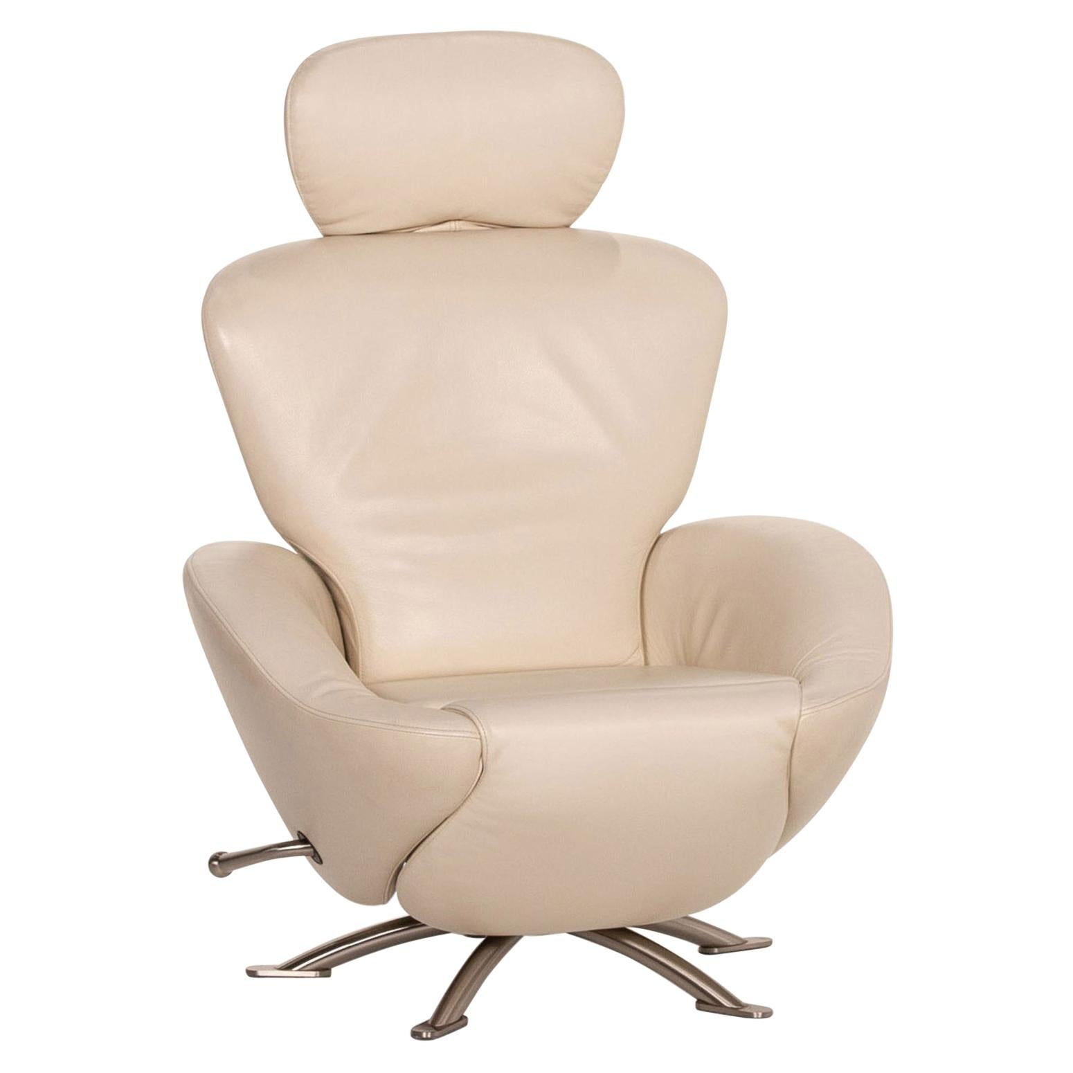 Cassina Dodo Leather Armchair Cream Relax Function Function Relax Armchair