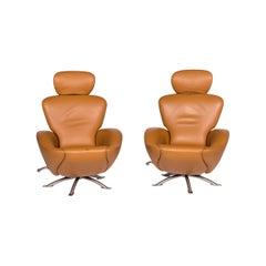 Cassina Dodo Leather Armchair Set Cognac Brown 2 Armchair Relax Function