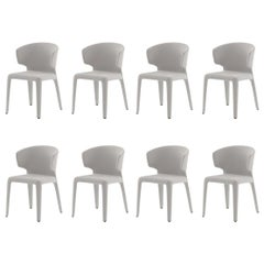 Cassina Hola dining armchairs in white leather (set of 8)