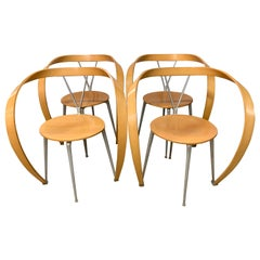 Cassina Italy Set of Four Revers Chairs Designed by Andrea Branzi, 1990s