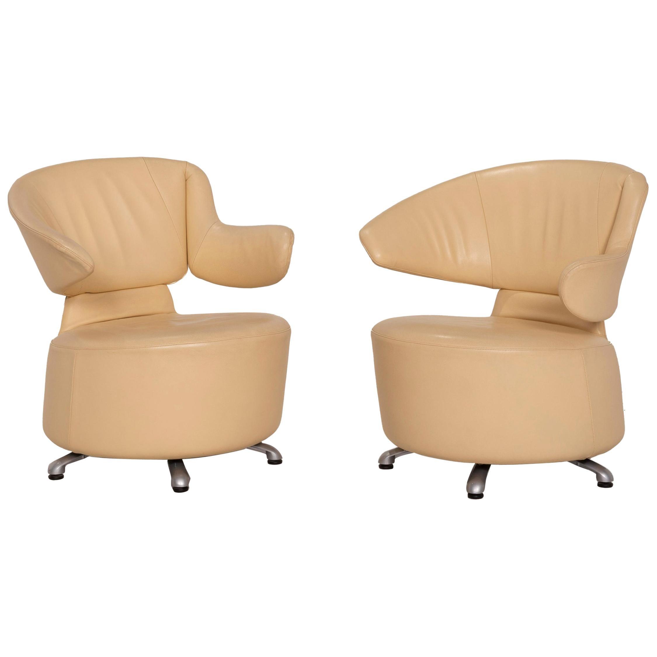 Cassina K06 Aki Biki Canta Leather Armchair Set Beige Set 2x