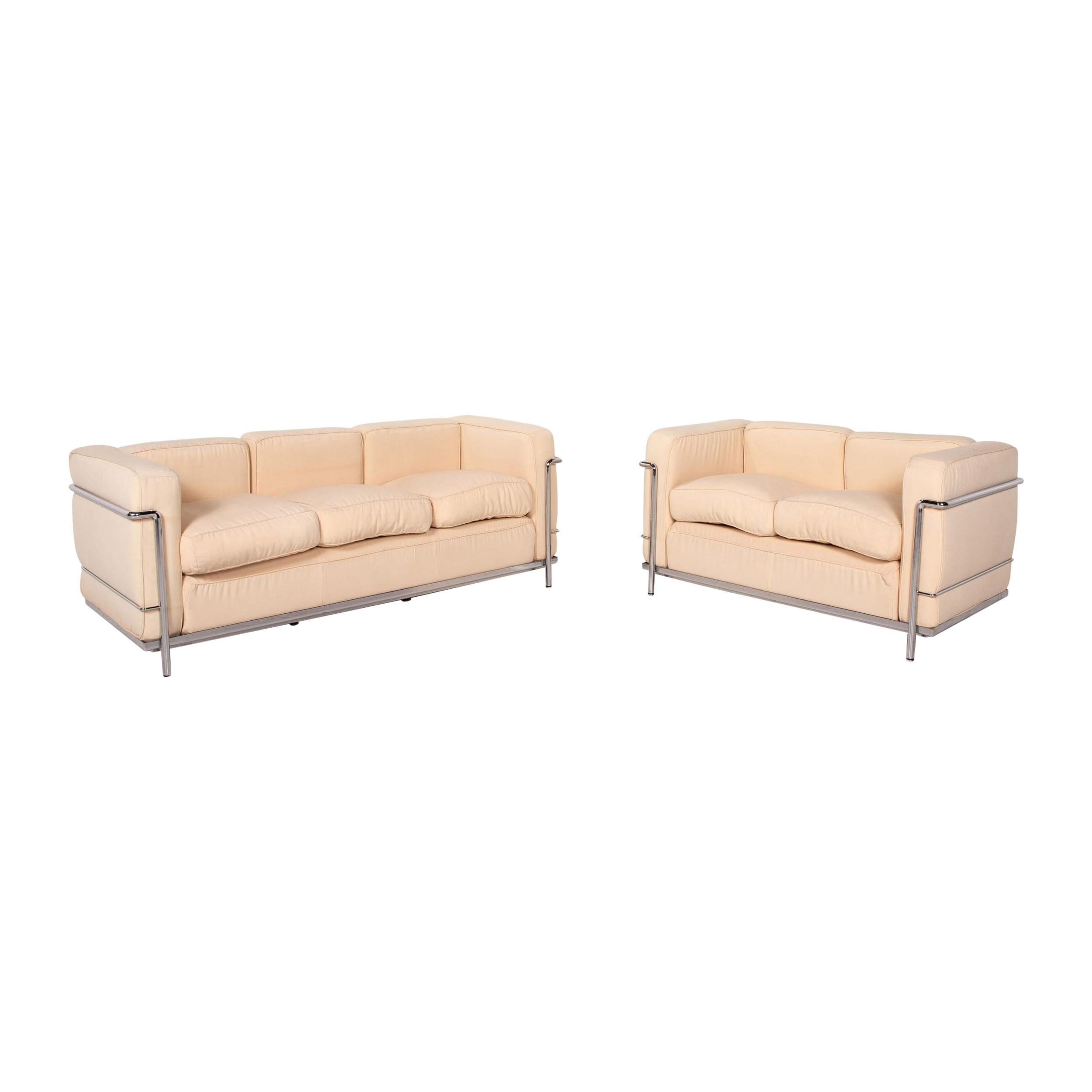 Cassina LC 4 Le Corbusier Fabric Sofa Set Beige 1x Three-Seater 1x Two-Seater