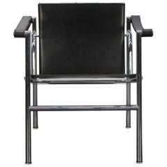 "Cassina ""LC1"" Armchair in Black Leather by Corbusier, Perriand, Jeanneret"