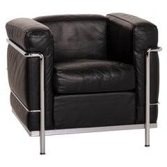 Cassina LC2 Leather Armchair Black Corbusier Chrome