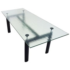 Cassina Le Corbusier Designed LC6 6-8 Seat Dining Table with Textured Glass Top
