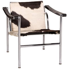 Cassina Le Corbusier LC 1 Fur Leather Chair White Brown Armchair