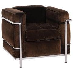 Cassina Le Corbusier LC 2 Cord Fabric Armchair Brown Dark Brown Vintage Tubular