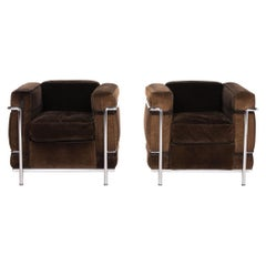 Cassina Le Corbusier LC 2 Cord Fabric Armchair Set Brown Dark Brown Vintage