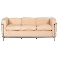 Cassina Le Corbusier LC 2 Fabric Sofa Beige Three-Seater Couch