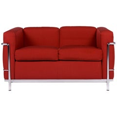 Cassina Le Corbusier LC 2 Fabric Sofa Red Two-Seat Couch Le Corbusier