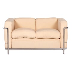 Cassina Le Corbusier LC 2 Fabric Sofa Two-Seater Couch
