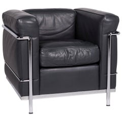 Cassina Le Corbusier LC 2 Leather Armchair Anthracite Gray