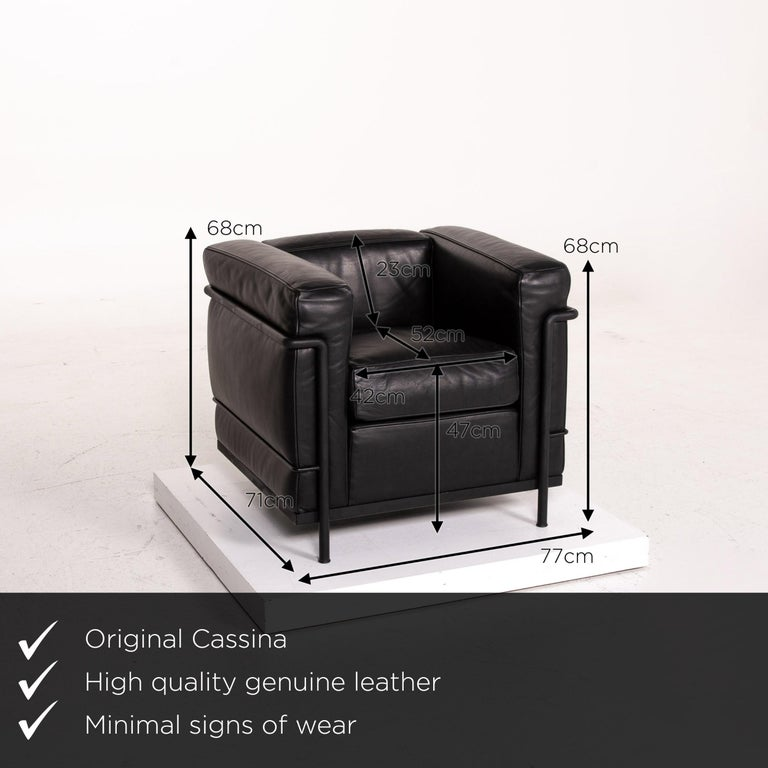 We present to you a Cassina Le Corbusier LC 2 leather armchair black.      Product measurements in centimeters:    Depth 71 Width 77 Height 68 Seat height 47 Rest height 68 Seat depth 52 Seat width 42 Back height 23.
