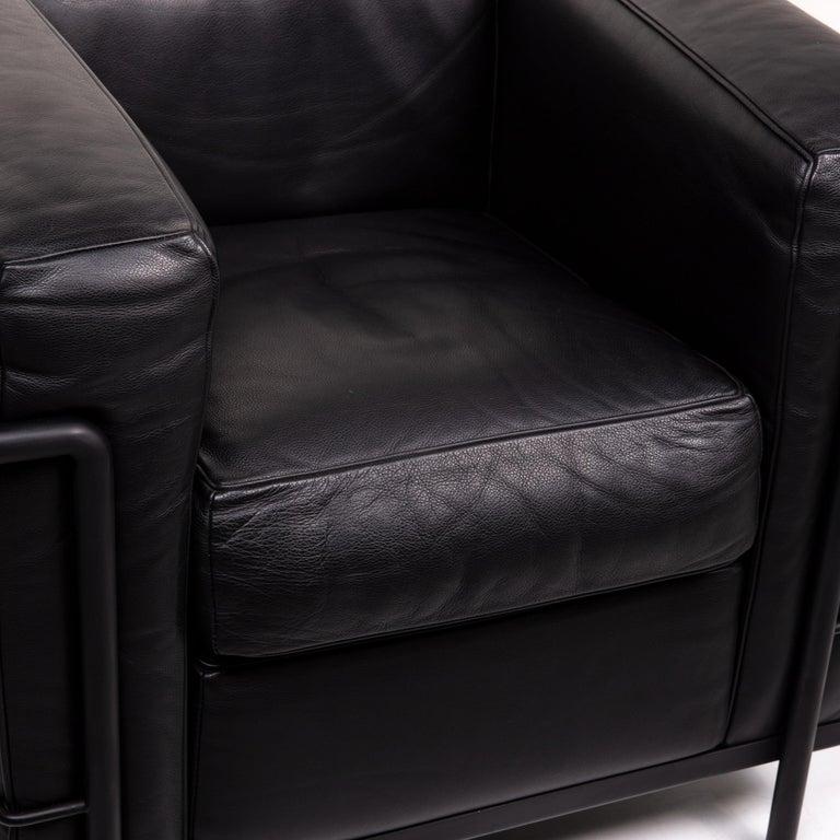 Modern Cassina Le Corbusier LC 2 Leather Armchair Black