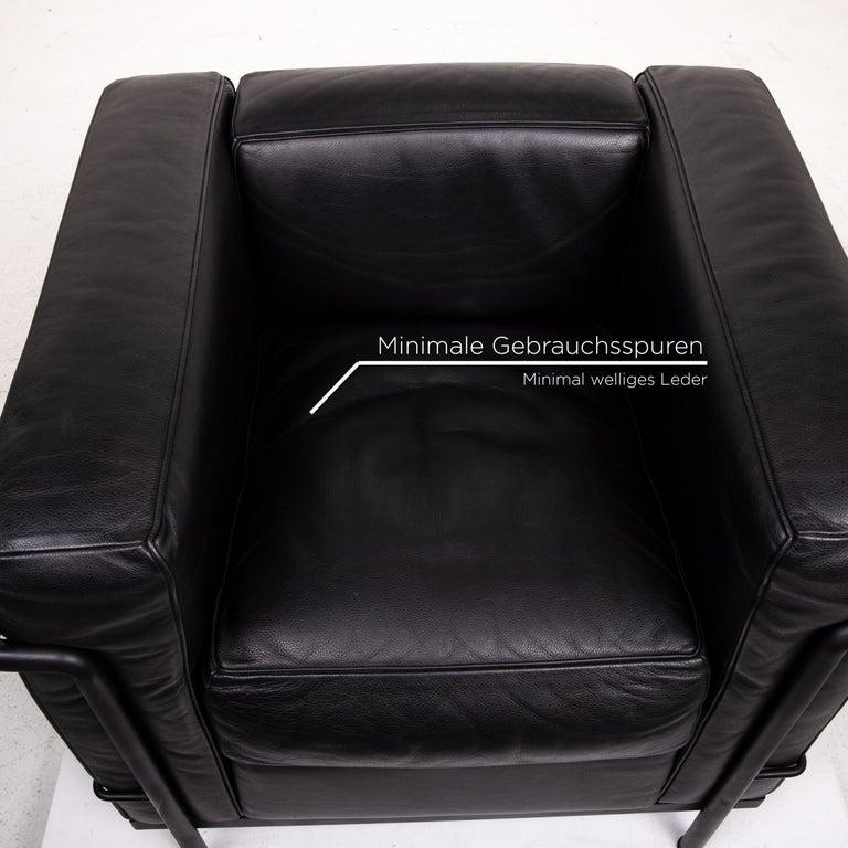 Italian Cassina Le Corbusier LC 2 Leather Armchair Black