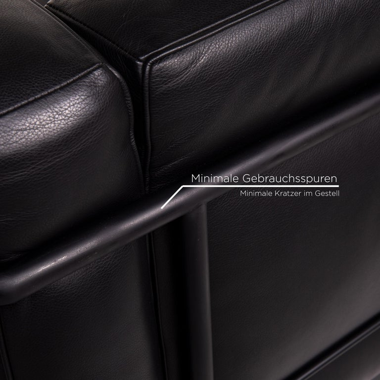 Contemporary Cassina Le Corbusier LC 2 Leather Armchair Black