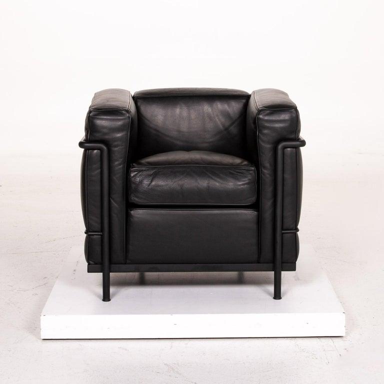 Cassina Le Corbusier LC 2 Leather Armchair Black 3