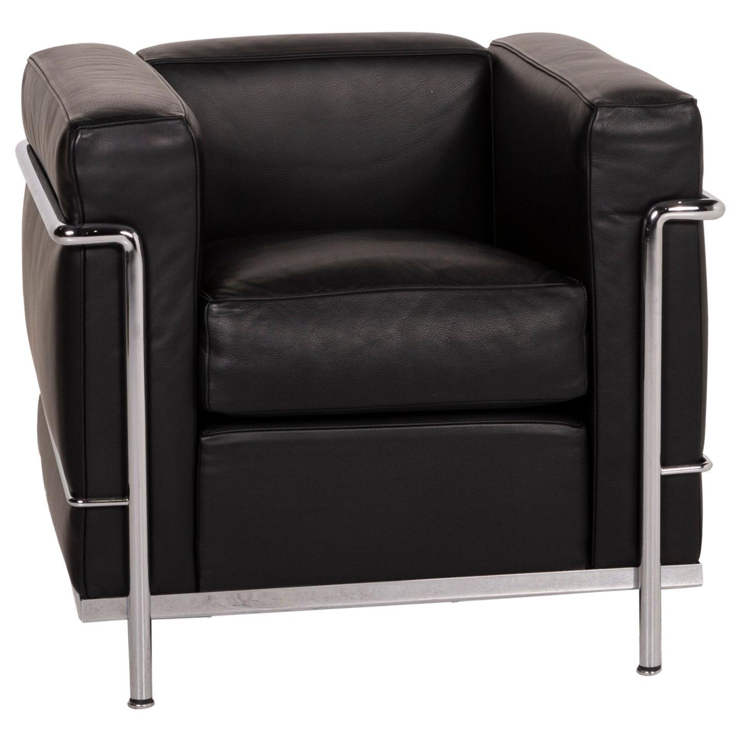 Cassina Le Corbusier LC 2 Leather Armchair Black