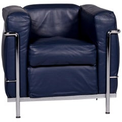 Cassina Le Corbusier LC 2 Leather Armchair Blue