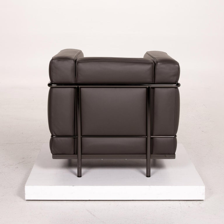 Cassina Le Corbusier LC 2 Leather Armchair Gray Brown Brown For Sale 4