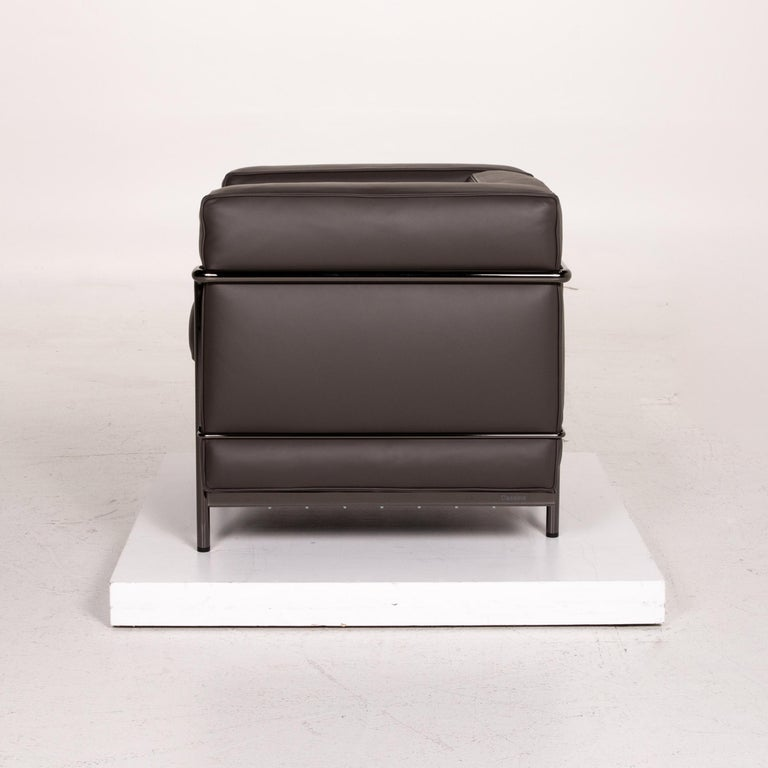 Cassina Le Corbusier LC 2 Leather Armchair Gray Brown Brown For Sale 5