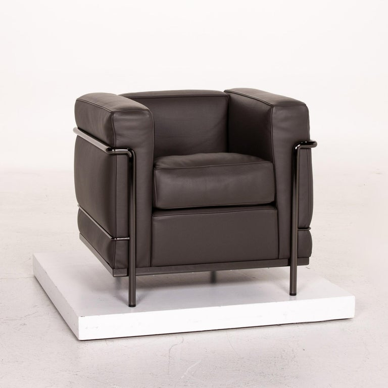 Cassina Le Corbusier LC 2 Leather Armchair Gray Brown Brown For Sale 1