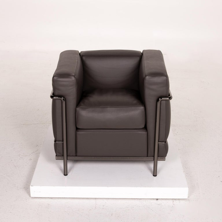 Cassina Le Corbusier LC 2 Leather Armchair Gray Brown Brown For Sale 2
