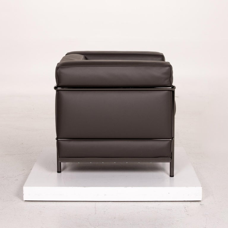 Cassina Le Corbusier LC 2 Leather Armchair Gray Brown Brown For Sale 3