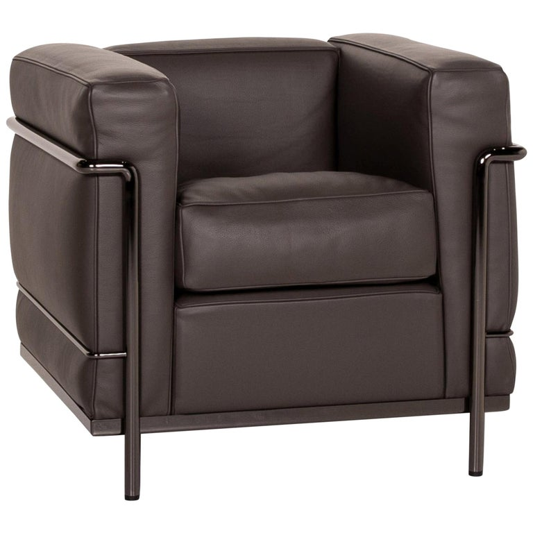 Cassina Le Corbusier LC 2 Leather Armchair Gray Brown Brown For Sale